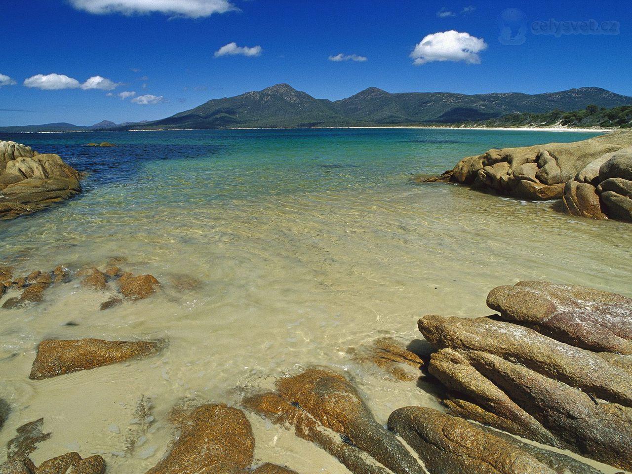 Bay from hazards beach, freycinet national park, tasmania, australia